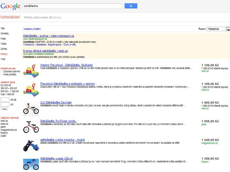 google nákupy, srovnávač zboží