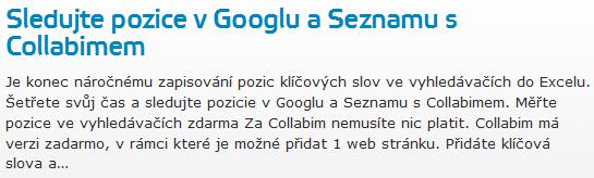 Sledujte pozice v Googlu a Seznamu s Collabimem