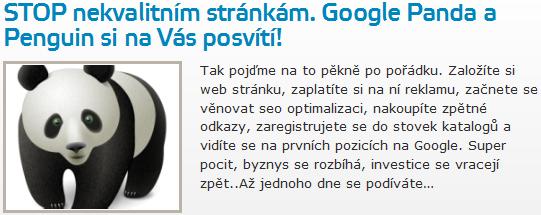 STOP nekvalitním stránkám. Google Panda a Penguin si na Vás posvítí!