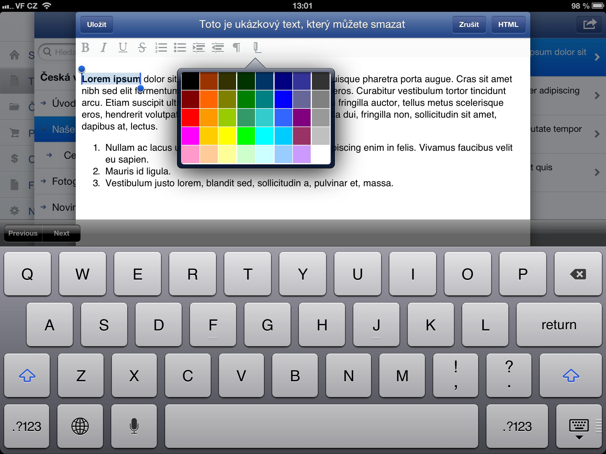 úprava textu ve Flox aplikaci
