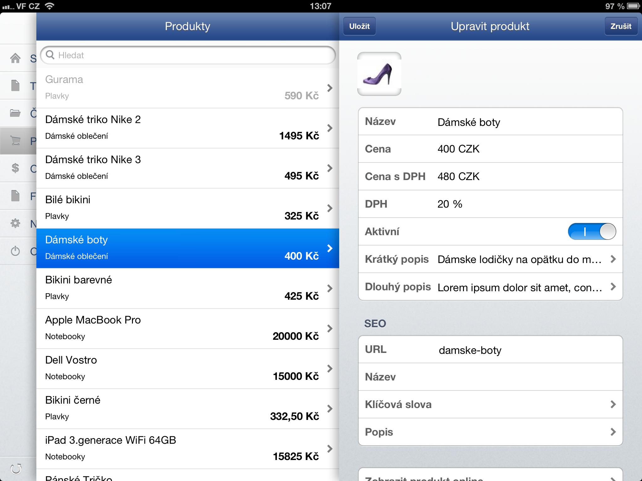 SEO v detailu produktu ve Flox aplikaci