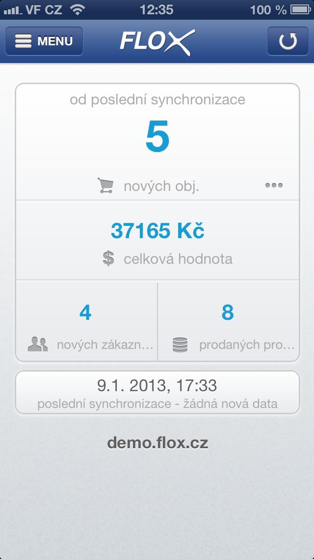 synchronizovaný přehled objednávek a nových zákazníků na Flox app