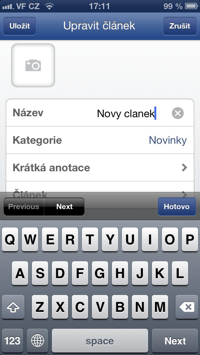 tvorba nového článku na Flox app