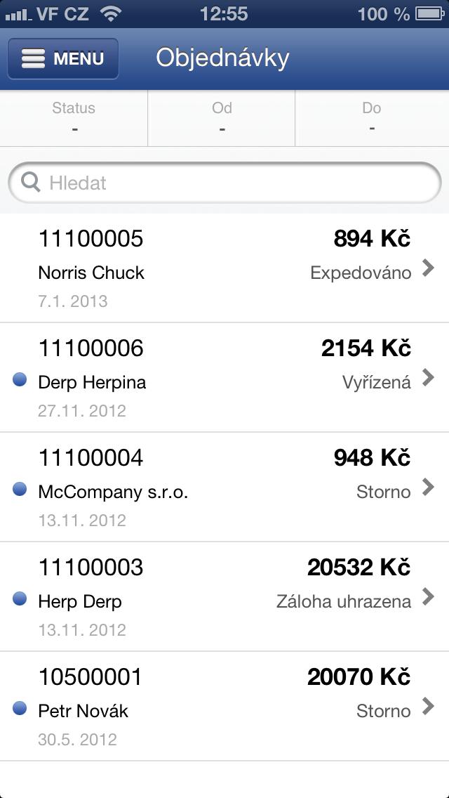 přehled objednávek v aplikaci Flox