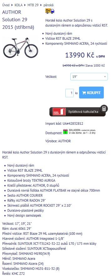 upravený detail produktu naimportovaného přes XML feed