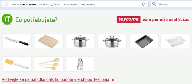 obsahový marketing e-shopu, tescoma