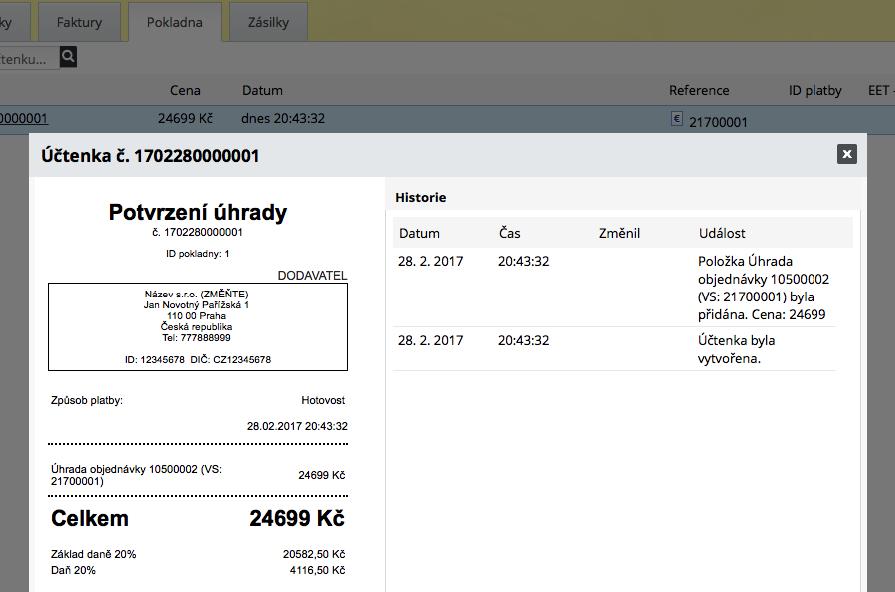 detail účtenky v e-shopu od ByznysWeb
