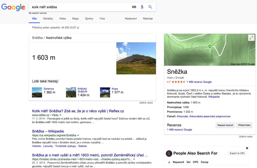 Google Answer Box nabízí odpovědi na otázky