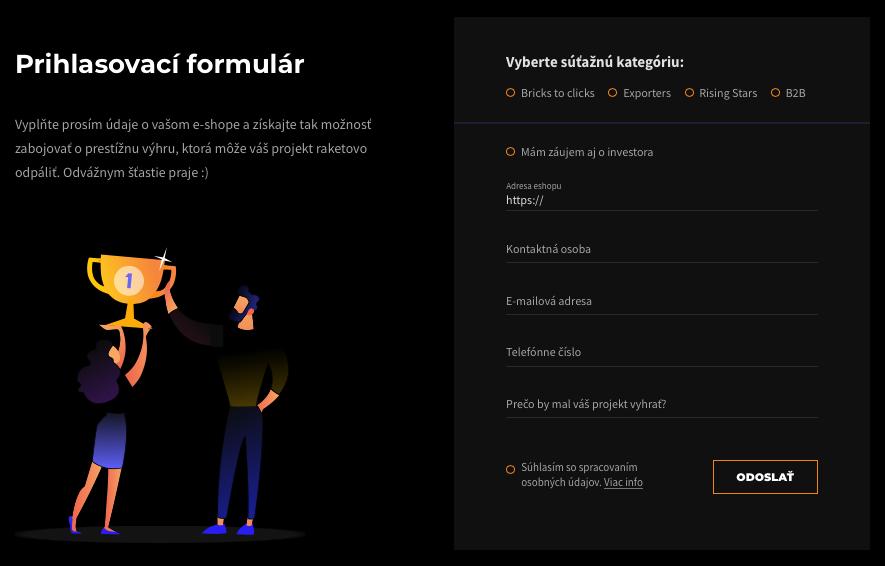 přihlašovací formulář MastersGate 2019